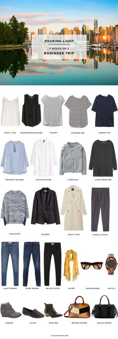 What to pack for a Business Trip 3 Weeks Casual Chic #capsule #workcapsule…