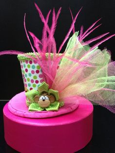 Funky Monkey Pink and Green Mini Top Hat for by daisyleedesign, $19.95