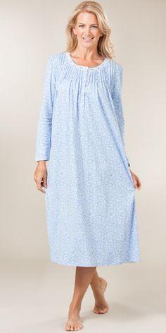 Aria Long Sleeve Ballet Nightgown - Cotton-Rich in Copenhagen Blue Night Suit, Night Wear, Night Gown, Sleeping Gown, Flannel Nightgown, Nursing Wear, Night Dress For Women, Warm Outfits, Winter Wear