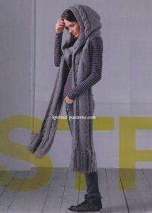 "Hooded scarf free pattern in Schoppel Wolle ""IN Silk"" virgin wool, silk, approx. 200 g): 1000 g of Sepia col 7873 Hooded Scarf Pattern, Crochet Hooded Scarf, Knitted Headband, Knitted Hats, Crochet Hats, Baby Knitting Patterns, Knitting Designs, Free Knitting, Cowl Patterns"
