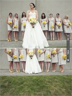 these yellow flowers look so lovely with these bridesmaid dresses and how about the yellow shoes? | CHECK OUT MORE IDEAS AT WEDDINGPINS.NET | #bridesmaids