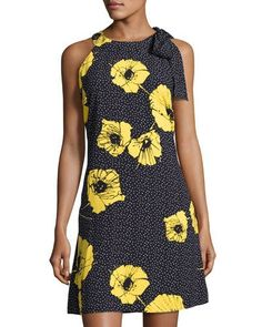fbec85eadb9 Floral-Print Crepe Trapeze Dress Blue Yellow