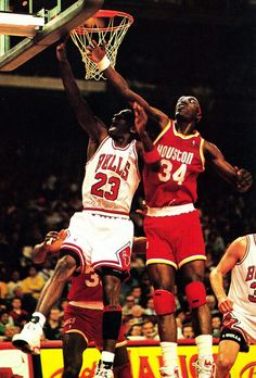 Michael Jordan and Hakeem Olajuwon - Houston Rockets