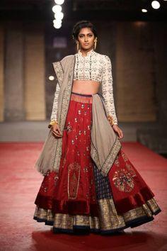 Delhi Couture Week 2013 – Anju Modi - gold red blue lengha