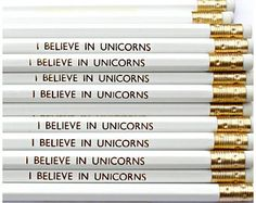 I Believe In Unicorns Pencil. Stationery. Birthday. Fun. Present. Pencils. Desk. Planner. New Years Resolution. Office. Party Bag Filler.