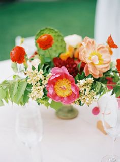 bright centerpiece with cactus - photo by nbarrett photography
