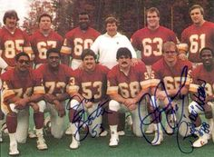 """The nickname """"The Hogs"""" refers to the offensive line of the Washington Redskins in the 1980's and early 1990's. The original Hogs were center Jeff Bostic, left guard Russ Grimm, right guard Mark May, left tackle George Starke and right tackle Joe Jacoby. Tight ends Don Warren and Rick Walker were also considered part of the gang under head coach Joe Gibbs."""