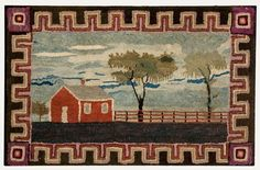 """RED BARN HOOKED RUG IN LANDSCAPE  American, 3rd quarter 19th c. 27 ½"""" x 44"""". In excellent color and condition."""