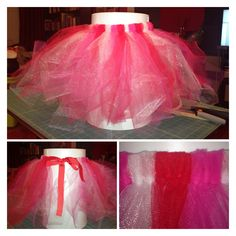 "My first DIY tutu. Used a yard each of 54"" wide tulle in red, pink, & sparkly white. Cut into 3"" wide strips, then those in half to make 28"" long strips.  Fold the 28"" long strips in half & knot (loop around & through) around a 1"" wide piece of grosgrain ribbon. I did this 3x for each color. The tutu part ended up being just over 20"" for a 2 year old. Leave at least 12-15"" on each side to tie into a bow. I did it this way instead of using elastic so the tutu would be adjustable. Enjoy!!"
