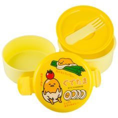 Take your home cooked meals on the go with this two compartment Japanese bento lunchbox covered with everyone's favorite character—Gudetama! Small, portable and completely sealed, the two compartments