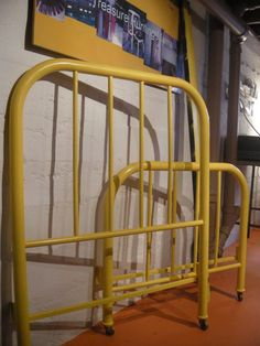 Yellow Metal Bed Frame Metal Twin Bed Frame, Metal Beds, Painted Iron Beds, E Room, Kids Room, Antique Iron Beds, Girls Bedroom, Bedroom Ideas, Comfy Bed