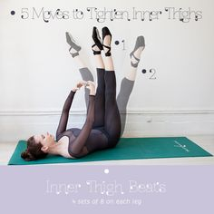 """Inner Thigh Beats  Lie flat on your back. Extend legs straight up in the air, turned outward from the hips and toes pointed, so that your inner thighs and heels are touching. Place your arms out in front of you in first position, forming a loose circle. Open up legs to a V, a little further than shoulder-width apart. Engage core. Pull your legs back in and tap heels together lightly, then push back out to the V. Keep doing this with a steady """"beat."""" Do 4 sets o"""
