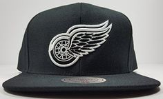 sports shoes 1c5a3 75818 Mitchell   Ness Detroit Red Wings Custom Black   White Logo Adjustable  Snapback Hat NHL – Detroit Sports Outlet