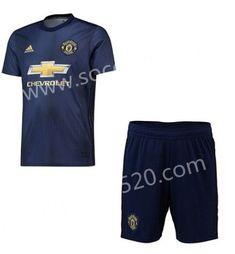 3011f2185 2018-19 Manchester United 2nd Away Dark Blue Thailand Soccer Uniform