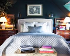 Beautiful Bedroom Remodel Ideas: Cool And Elegant Traditional Bedroom For Bedroom Remodeling Ideas With Elegant Wooden Night Table Also Elegant White Table Lamp Also Dark Blue Wall With Modern Wall Lights Design And Elegant Table Design ~ indiealbany.com bedroom Inspiration