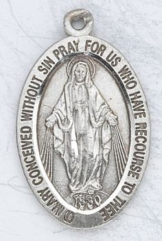 Childrens Jewelry Boy or Girls Jewelry Sterling Silver Medal Tiny Oval Miraculous Medal St Mary Mother of God with 13 Stainless Steel Chain Gift Boxed *** Read more at the image link.