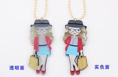 茗雅原创设计 亚克力可爱女孩造型长链吊坠双面彩绘项链-淘宝网