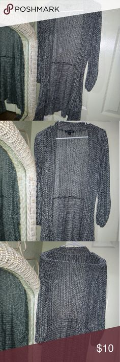Long Flowy Cardigan Gently used, open cardigan size Large BUT fit is VERY versatile. I am a small for the most part and this piece fit me well anyway. Great for layering and especially for  a little black dress. Stretchy   Check out the rest of my closet, and thanks for stopping by! About A Girl Other