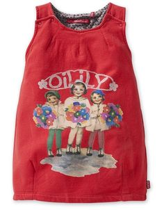 Red jersey sleeveless dress with Three Girls print & Oilily wording at the front.