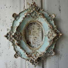 Antique plaster picture frame ornate antique French shabby cottage chic cream white/ soft blues distressed w/ gold accented anita spero design  measures:16 by 14 2.5thick Inside is 5 by 7  This plaster frame is in very good condition. If there are any chips..which I cant see, they are very monor and would oonly add to the charm of this shabby French blue frame. I love using this color combo. It reminds me of many paintings I love, with faded blue skies and water. Many of the artists I admire…