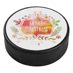 Watercolor Retro Merry Christmas Hockey Puck - modern gifts cyo gift ideas personalize