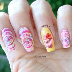 Day 1: spun sugar and popcorn nail art design