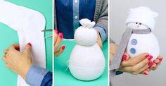 muñeco de nieve con un calcetín y arroz