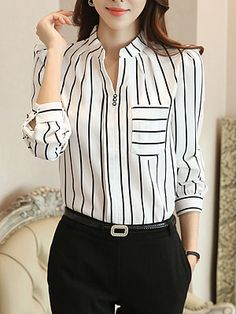 Split Neck Patch Pocket Striped Blouse Find latest women's clothing, dresses, tops, outerwear, and other fashion clothing and enjoy the worldwide shipping # Bluse Outfit, Cheap Womens Tops, Vetement Fashion, Bell Sleeve Blouse, Blouse Neck, Mod Dress, Blouse Styles, Blouses For Women, Ladies Blouses
