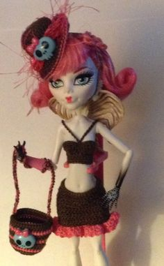 Handmade crochet 4-pc new clothes fits Mattel GoThiC MONSTER HIGH fashion doll
