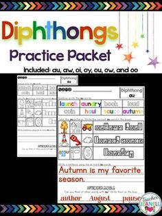 These no prep printables are designed to help your students practice diphthongs. Students will rainbow write each word with the target diphthong sound and color the matching picture. Then write the correct word in the letter shaped boxes. Students will write a sentence using one or more words with the target diphthong sound.