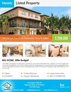 Just listed property in Pembroke Pines  423 SW 147 Ave #106 Pembroke Pines, FL 33027