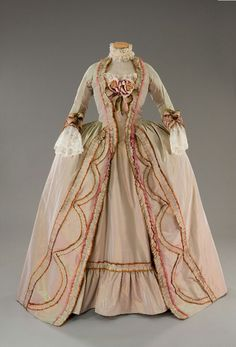 Tan and Pink Gown With Lace and Roses, 1780