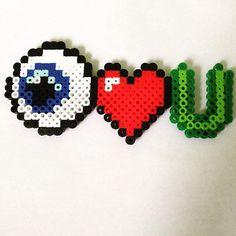 Eyeheartu perler beads by perler_bead_creation