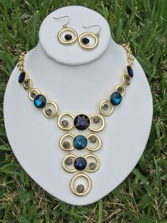 Alasadi with you for Beautiful Shades of Blue Gold Statement by TenorLessJewelry