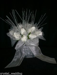 Wedding table centrepiece Rose shimmer  in white or ivory and mix of all colours