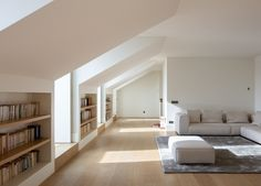 Corpo Santo 6 is a minimalist renovated apartment building located in Lisbon, Portugal, designed by Samuel Torres de Carvalho Architecture Attic Spaces, Attic Rooms, Interior Architecture, Interior And Exterior, Interior Design, Kitchen Interior, Building Renovation, Small Terrace, Interior Minimalista
