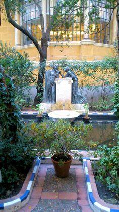 Garden fountain of the Casa Museo Sorolla, Madrid, Spain