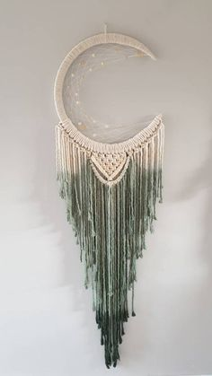 Dip dye macrame mooncatcher in forest green Macrame Wall Hanging Diy, Macrame Plant Hangers, Macrame Art, Macrame Knots, Moon Dreamcatcher, Macrame Projects, Macrame Design, Diy Arts And Crafts, Diy Crafts