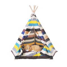 Free Love@color Stripe Pet Kennels Pet Play House Dog Play Tent Cat /Dog Bed *** To view further, visit now : Dog kennels