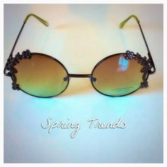 Floral-Rimmed Round Sunglasses NWOT ~ Trendy!  Price Firm unless bundled.  Thanks! Boutique Accessories Glasses