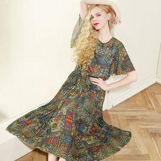 Elf Sack Women Retro Long Pleated Waisted Butterfly Sleeve Pattern Print Dress | elfsack