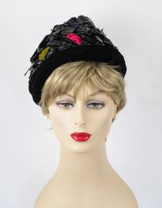 1960s Black Cello Straw Asymmetrical Pixie Hat by Amelia by alleycatsvintage on Etsy