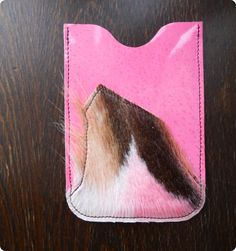 SALE was 18 USD Pink Fur / Leather phone case by maycily on Etsy, $10.00