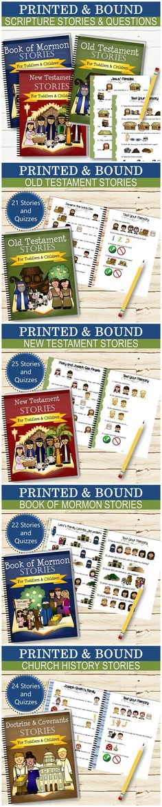 "★ DIGITAL VERSIONS: http://etsy.me/2FWceDy  Printed and bound scripture stories and questions for kids! Each set contains over 20 simplified stories, along with a memory quiz to ensure they understand the story. Each book is printed on 8.5""x11"" sheets of cardstock in full color and coil bound.   ★ OLD TESTAMENT SET - 21 Stories and Quizzes ★ NEW TESTAMENT SET - 25 Stories and Quizzes ★ CHURCH HISTORY SET - 24 Stories and Quizzes ★ BOOK OF MORMON SET - 22 Stories and Quizzes"
