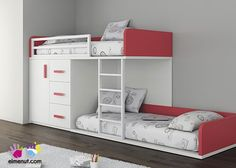 Habitación Infantil con 2 camas tipo Tren  Armario