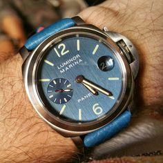 Beautiful Panerai LUMINOR in Blue Hairlines Dial.