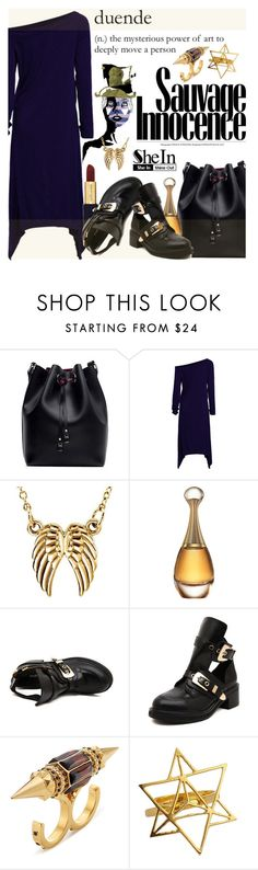 """SheIn IV-06"" by shambala-379 on Polyvore featuring GE, Christian Dior, Alexander McQueen, Sheinside, blackoutfit, polyvorefashion and shein"
