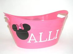Personalized Pink Minnie Mouse Inspired Plastic Tub Bucket for Valentines Day, Easter or Baby Shower Gift Basket. Great Party Snack Bowl. $8.00, via Etsy.