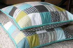 patchwork pillows by filminthefridge, via Flickr