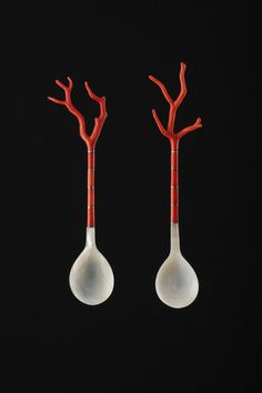 19th century ottoman turkish sherbet spoons, coral, mother of pearl, and silver